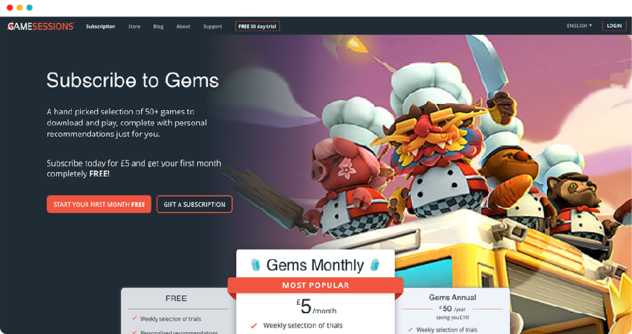 Screenshot of the Gamesessions subscription page